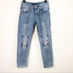 Zafsi Blings | Embroidered Cat Face Jeans